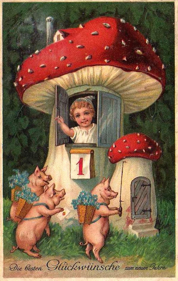 Дело в том, что этот гриб - один из символов удачи.