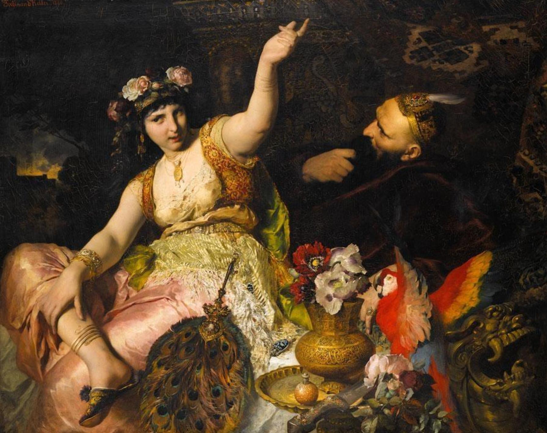 Фердинанд Келлер «Шахерезада и султан Шахрияр», 1880, wikimedia